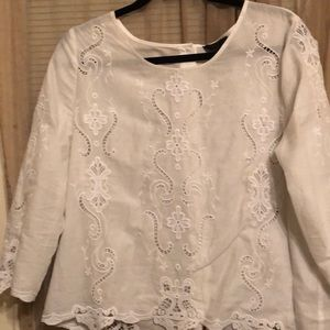 White lace button top